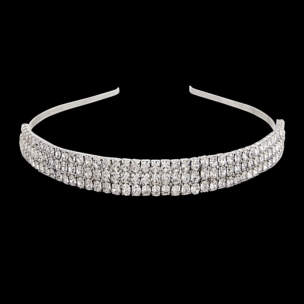 THREE ROW CRYSTAL HEADBAND - CLEAR