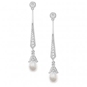 GLITZY PEARL DROP EARRINGS