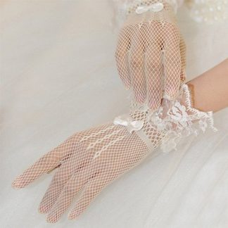 White finger lace bridal gloves