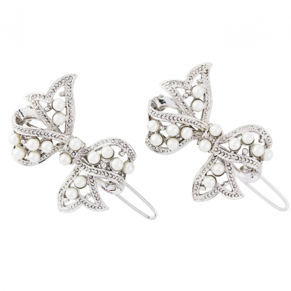 Swarovski & Cz collection pair of glitzy glam bow hair clips with ivory pearls - Perfect for bridesmaids with clear cz crystals on a silver tone finish - size approx 2.5cm long Brand: Cz and Swarovski